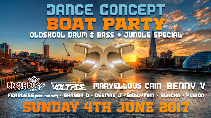 Dance Concept Boat Party - Oldskool D&B / Jungle Special on Sun 4th Jun 2017 at Jewel of London, London