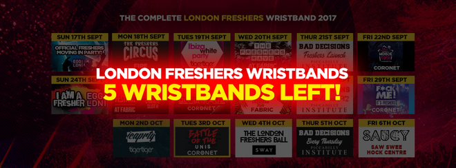 The London Freshers Wristband -  5 WRISTBANDS LEFT!