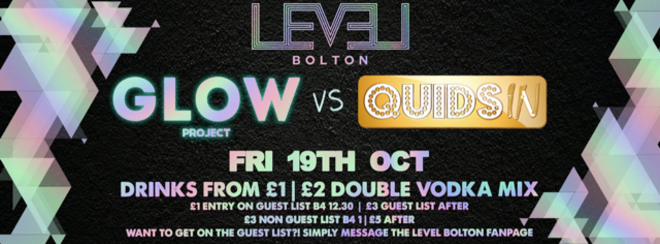 Glow Project UV party vs Quids In Entry Ticket – Pre 12.30 am only