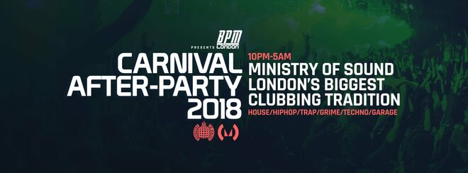 The Official Carnival After Party 2018 – Ministry of Sound