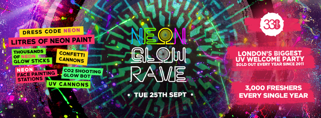 THE 2018 FRESHERS NEON GLOW RAVE at Studio 338!