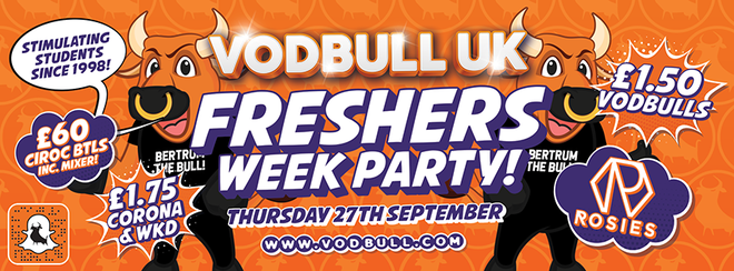 Vodbull Freshers Week Party!! 27th Sept!! {MEMBERS ONLY TICKETS!!}
