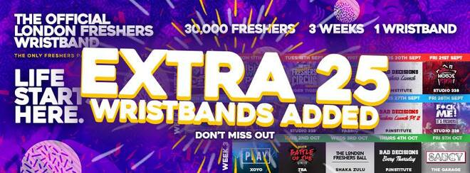 The Official London Freshers Wristband! Extra 25 Wristbands Added!