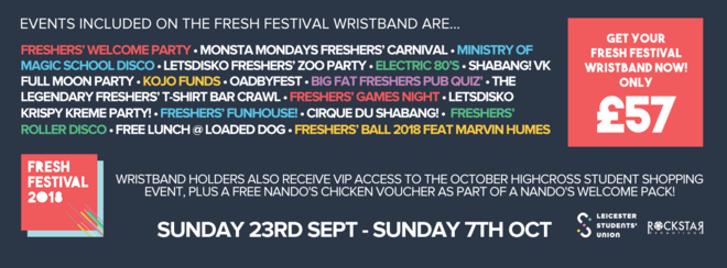 University of Leicester Students' Union – FRESH FESTIVAL 2018 Wristband