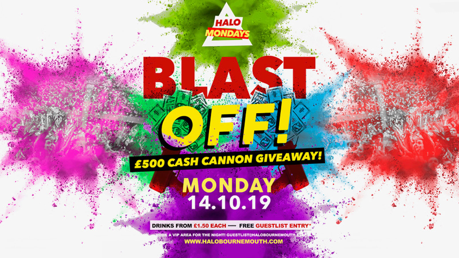 Halo Mondays 14.10 – £500 Cash Cannon //// Drinks from £1.50 – Bournemouth's Biggest Student Night // Bournemouth Freshers