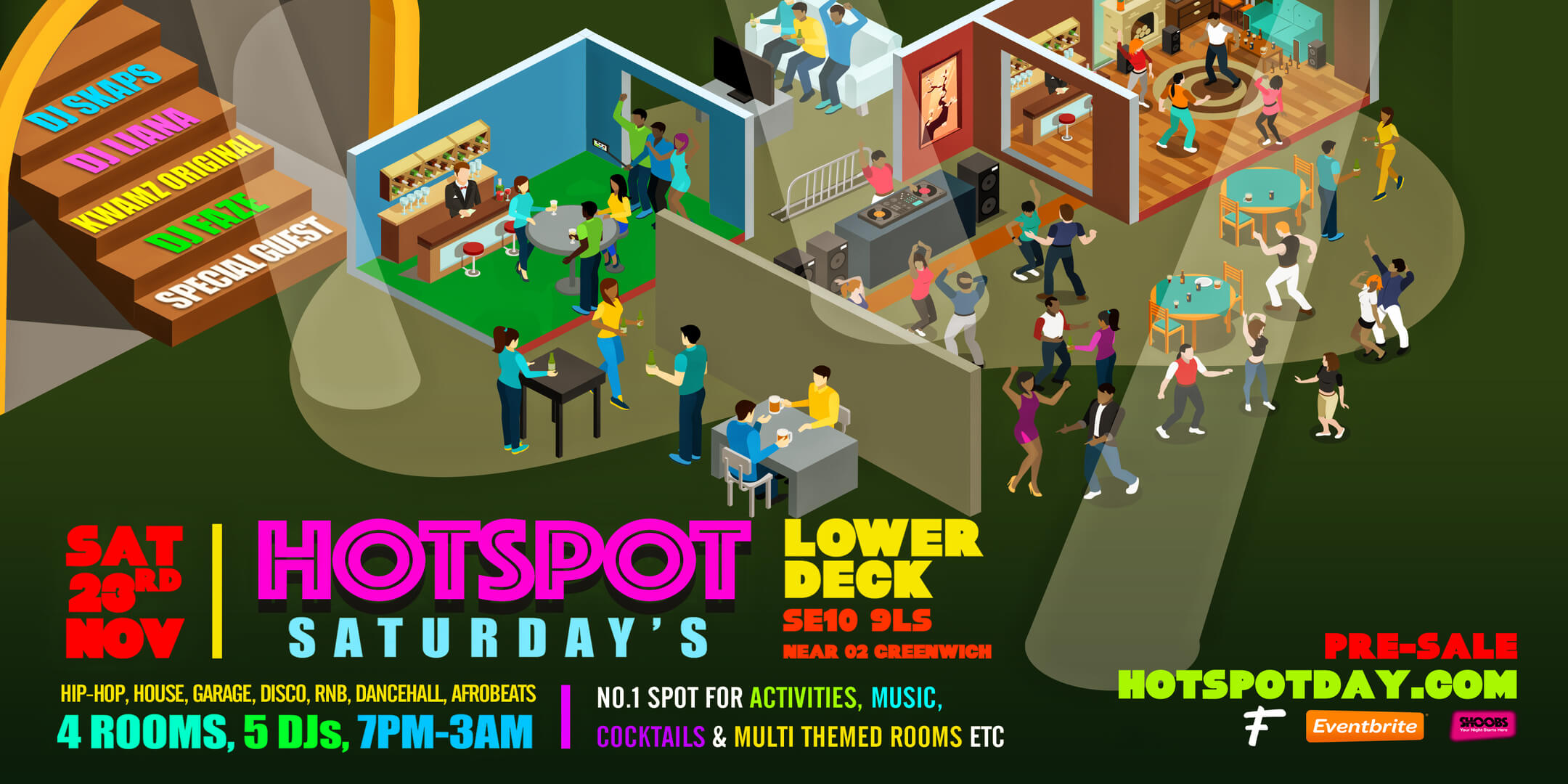 Saturday Hotspot – No. 1 Spot For Activities, Music, Cocktails & Multi Themed Rooms etc