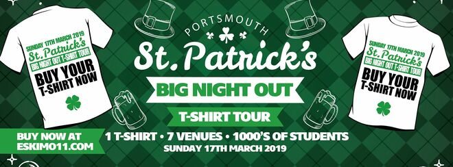 St Patrick's Day Big night out T-shirt Tour Portsmouth