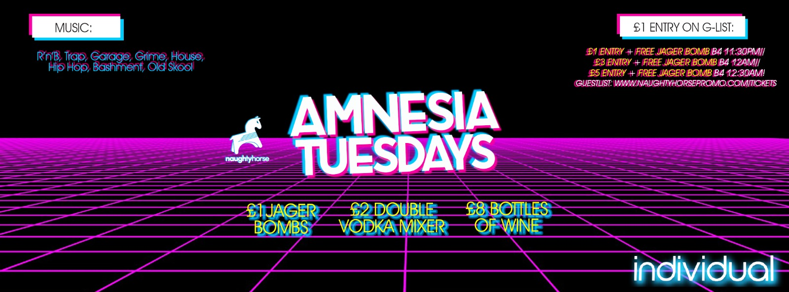 AMNESIA TUESDAYS at Indi (Arcadian) – £1 Entry + FREE JAGERBOMB guestlist!