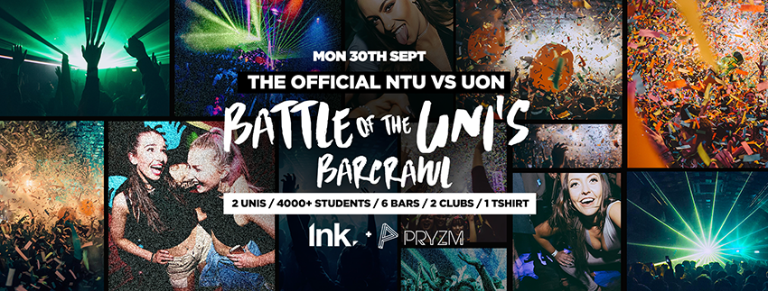Official Battle of the Unis Barcrawl NTU vs UON