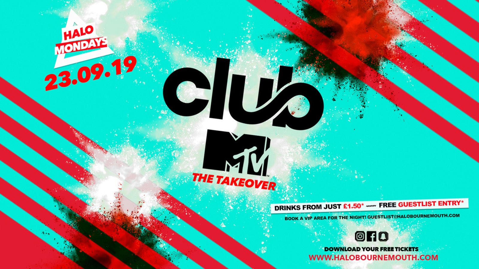 Halo Mondays 23.09 //// Drinks from £1.50 – Bournemouth's Biggest Student Night // MTV Freshers Launch // Bournemouth Freshers