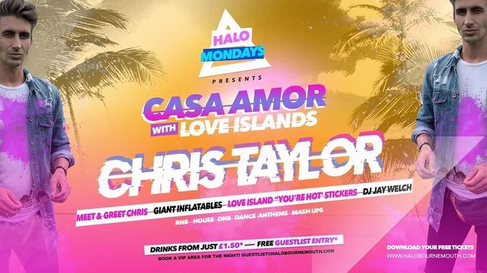 Halo Mondays w/ Chris Taylor 07.10 //// Drinks from £1.50 – Bournemouth's Biggest Student Night // Bournemouth Freshers