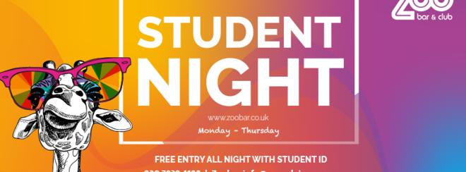 STUDENT NIGHT Monday at Zoo Bar