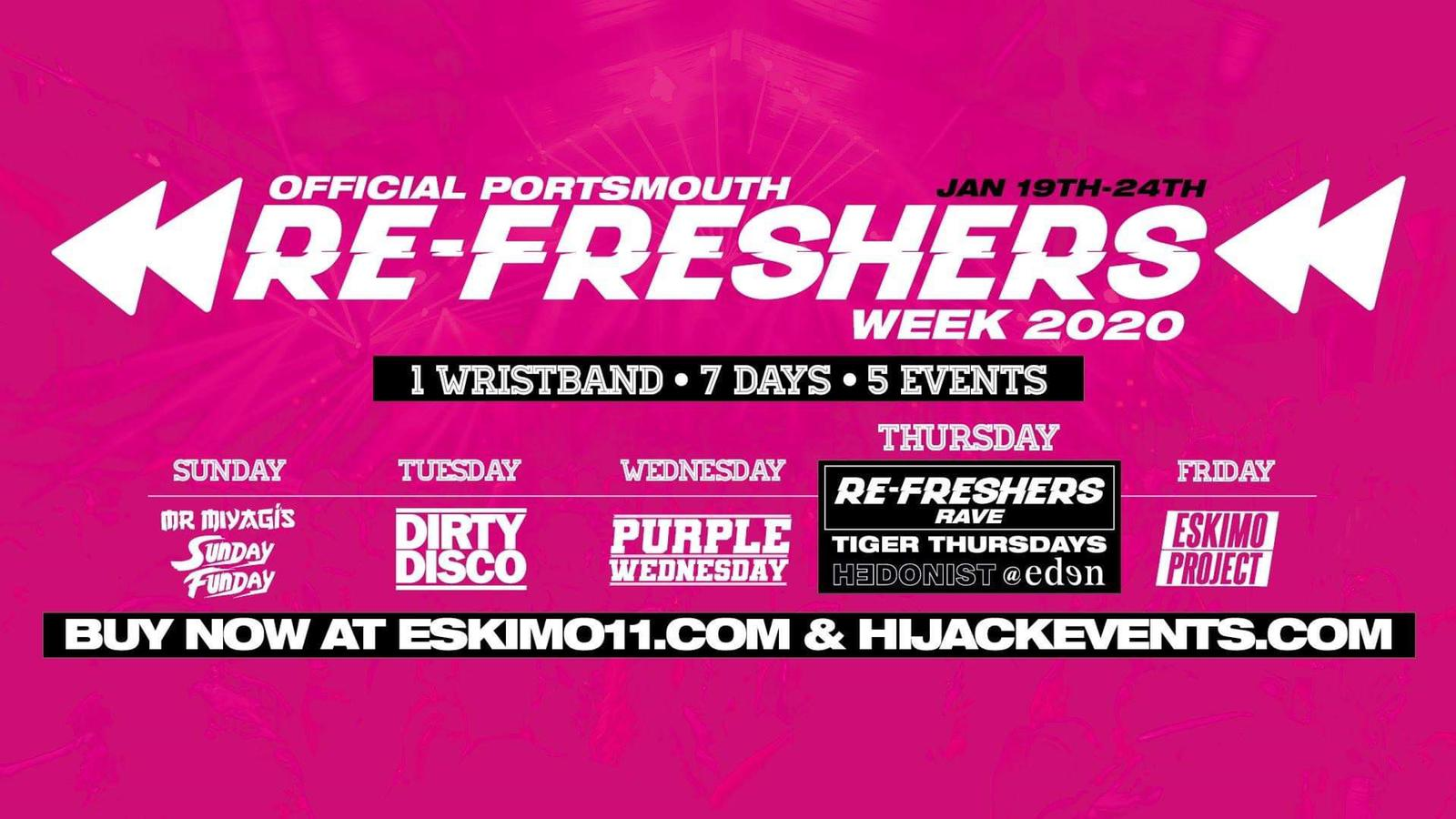 Refreshers Week – One Discounted  Wristband All Parties – INC Refreshers Rave