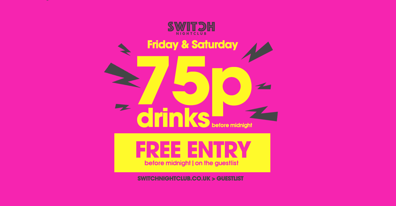 Switch Saturdays Ft 75P Drinks