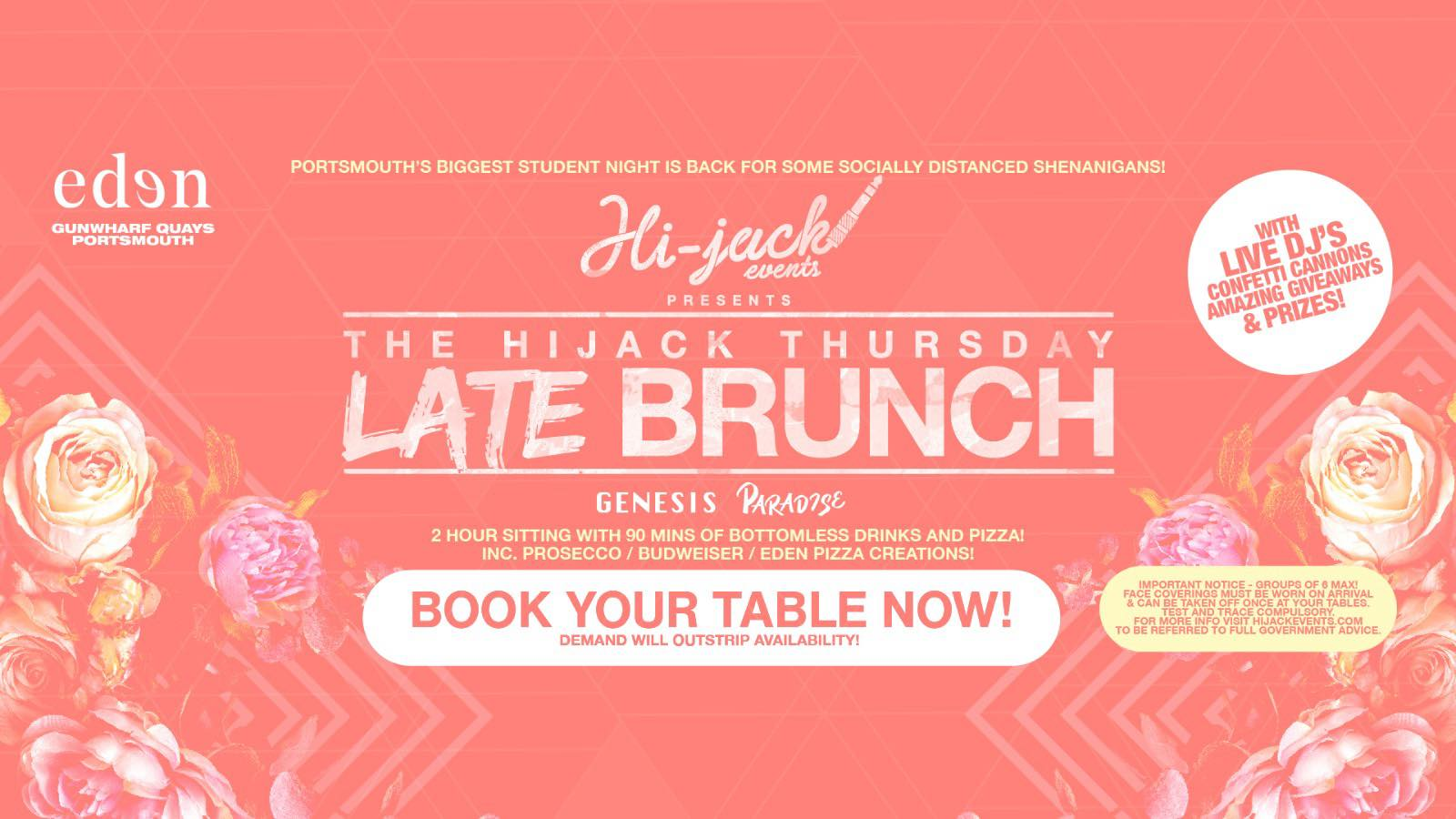 Hijack Thursdays are back! Disco & Paradise! Bottomless Late Brunch Sessions!