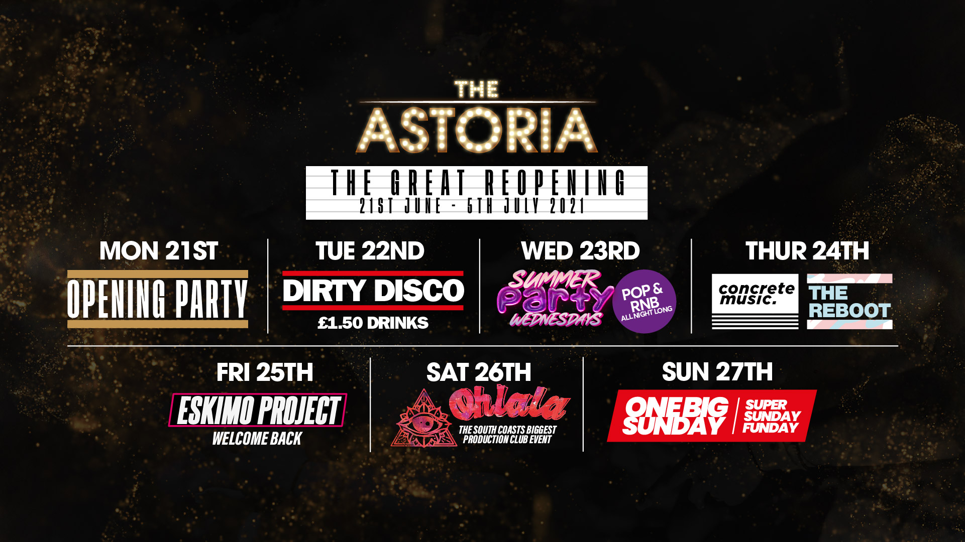 Astoria Week Long Pass  – 21st June – 27th June – Entry and VIP Q Jump 7 Nights (Save £90)