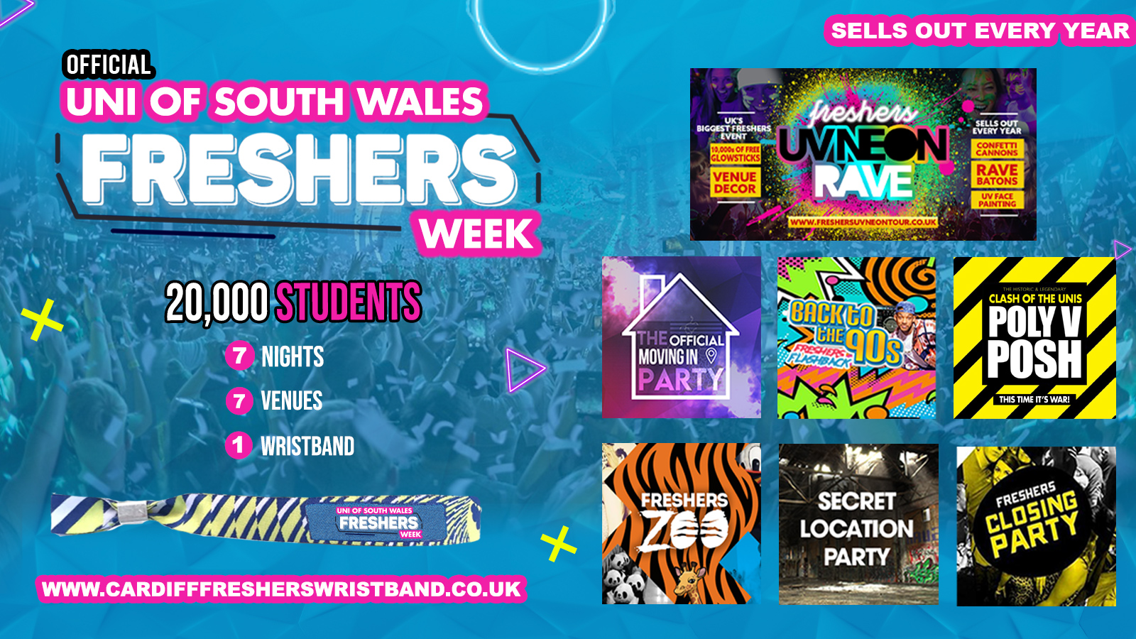 OFFICIAL University of South Wales Freshers Week Wristband 2021 – Cardiff Freshers 2021