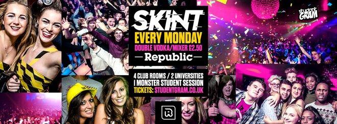 SKINT Every Monday - Freshers Carnival - Double Vodka/Mixer £2.50